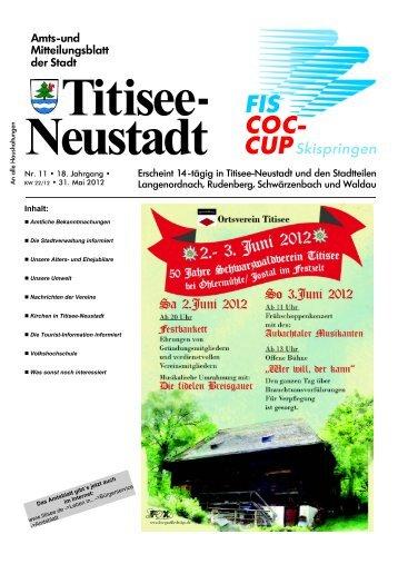 Nr. 11 • 18. Jahrgang • Inhalt: - Titisee-Neustadt