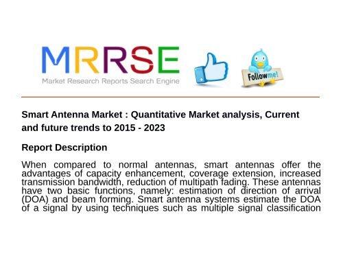 Smart Antenna Market : Quantitative Market analysis, Current and