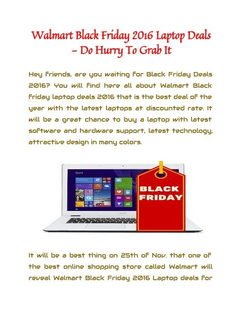Walmart Black Friday 2016 Laptop Deals - Do Hurry To Grab It