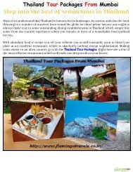 Thailand Tour Packages From Mumbai - Step into the best of restaurants in Thailand