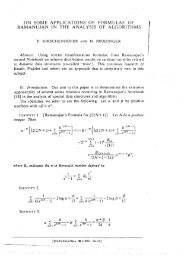 ON SOME APPLICATIONS OF FORMULAE OF RAMANUJAN IN ...