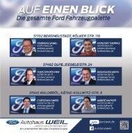 Die gesamte Ford Fahrzeugpalette