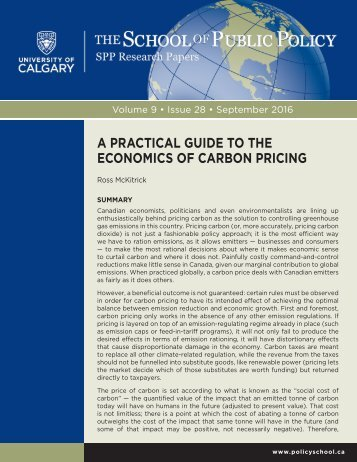 A PRACTICAL GUIDE TO THE ECONOMICS OF CARBON PRICING