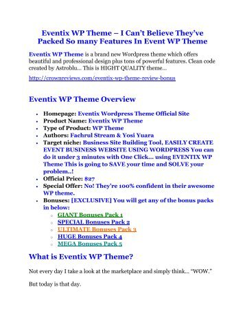 Eventix WP Theme review and Exclusive $26,400 Bonus