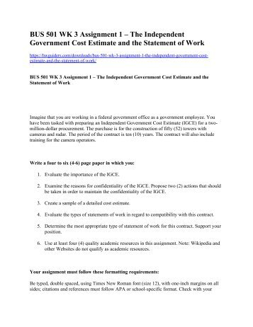 BUS 501 Week 3 Assignment 1 The Independent Government Cost Estimate ...