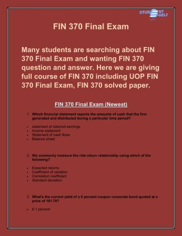 FIN 370 Final Exam Answer | FIN 370 Final Exam | Studentehelp