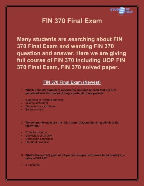 FIN 370 Final Exam Answer   FIN 370 Final Exam   Studentehelp