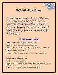 MKT 578 Final Exam - MKT 578 Final Exam Answer   Student E Help