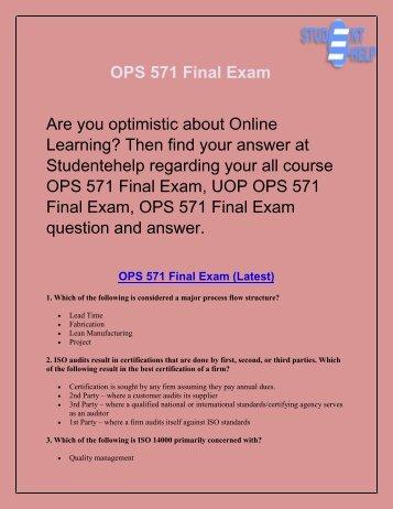 OPS 571 Final Exam : OPS 571 Final Exam Answer | Studentehelp