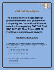 QNT 561 Final Exam Question And Answer | QNT 561 Final Exam | Studentehelp