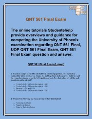 QNT 561 Final Exam Question And Answer | QNT 561 Final Exam | Studentehelp