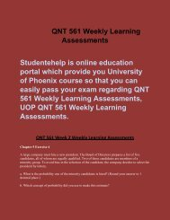 Studentehelp | QNT 561 Weekly Learning Assessments