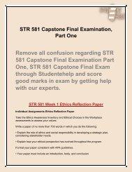 STR 581 Capstone Final Examination Part 1   Student E Help