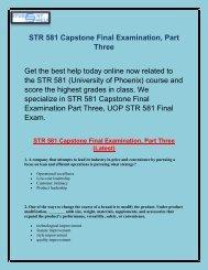 STR 581 Capstone Final Exam   STR 581 Capstone Final Examination Part 3   Studentehelp