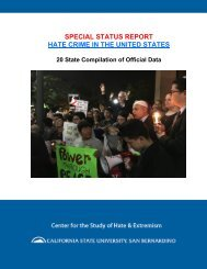 SPECIAL STATUS REPORT HATE CRIME IN THE UNITED STATES
