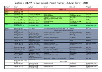 Horsford C of E VA Primary School - Parent Planner – Autumn Term 1 - 2016