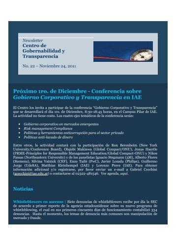 Newsletter N°22 - Noviembre 24 2011 - IAE Business School