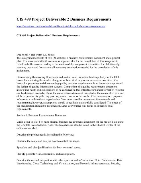 Cis 499 Project Deliverable 2 Business Requirements