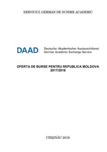 Oferta de burse DAAD pentru Republica Moldova 2017-2018