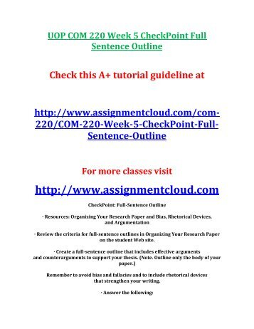 research paper sentence outline