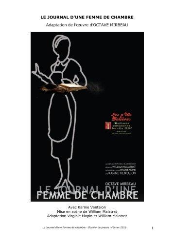 LE JOURNAL D'UNE FEMME DE CHAMBRE DP FEVRIER 2016