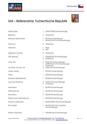 SMI – Referenzliste Tschechische Republik - SMI Snow Makers AG
