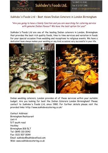 Sukhdev's Foods Ltd – Best Asian/Indian Caterers in London Birmingham