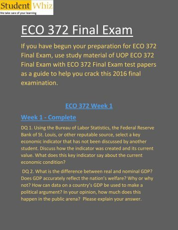 Studentwhiz : ECO 372 week 5 final exam | ECO 372 Final Exam