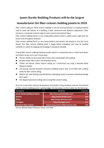 James Hardie Dominated Fiber Cement Cladding Panels Market in 2020