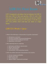 LDR 531 Final Exam - LDR 531 Final Exam Questions At UOP  E Assignments