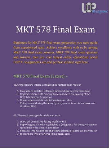 UOP E Assignments : MKT 578 Final Exam | MKT 578 Final Exam Question And Answers