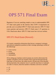 UOP E Assignments - OPS 571 & OPS 571 Final Exam  Question & Answers