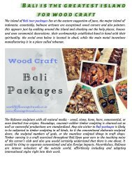 Bali Packages is the best island for wood create