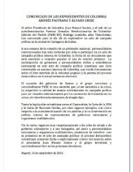 Comunicado de los expresidentes Andrés Pastrana y Álvaro Uribe