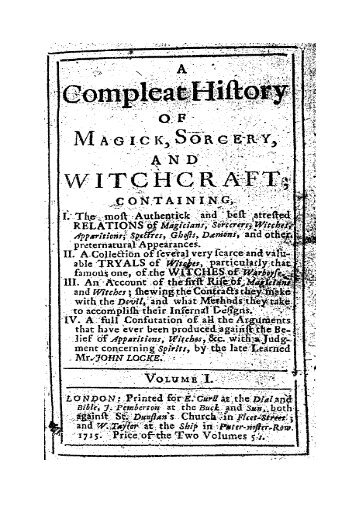 Complete History Of Magick Sorcery and Witchcraft (1715)