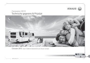 Caravans 2013 Technische gegevens & Prijslijst - Budgetcaravan