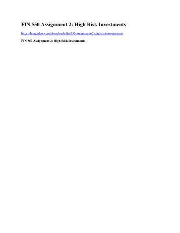 FIN 550 Assignment 2