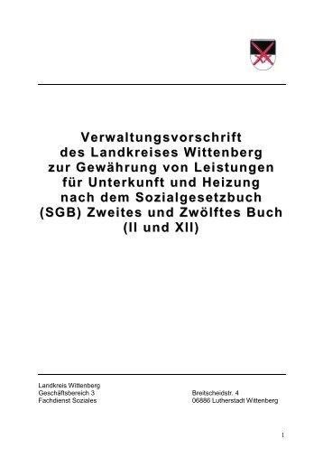 Verwaltungsvorschrift Kosten der Unterkunft - Landkreis Wittenberg