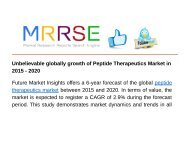 Unbelievable globally growth of Peptide Therapeutics Market in 2015 - 2020