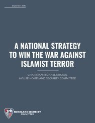 A NATIONAL STRATEGY TO WIN THE WAR AGAINST ISLAMIST TERROR