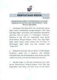 Kenyataan Media SPR - Kajian Semula Persempadanan Bahagian-Bahagian Pilihan Raya Negeri-Negeri Tanah Melayu dan Sabah