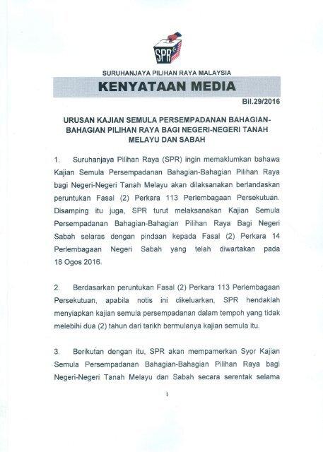 Kenyataan Media Spr Kajian Semula Persempadanan Bahagian Bahagian Pilihan Raya Negeri Negeri Tanah Melayu Dan Sabah