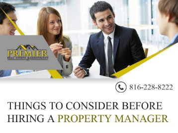 What you need to know before hiring a Property Manager