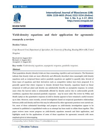 Yield-density equations and their application for agronomic research: a review