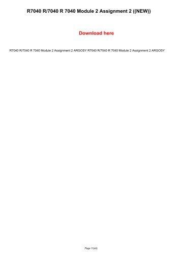 R7040 R/7040 R 7040 Module 2 Assignment 2 ARGOSY