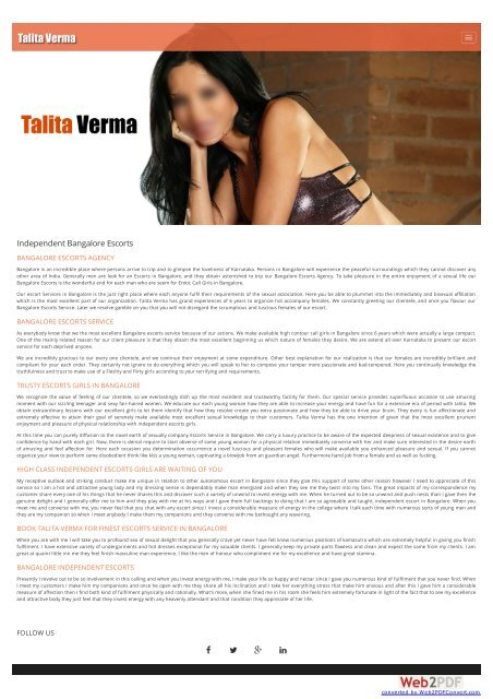 Bangalore Escorts Service, Independent Bangalore Escorts, Talita Verma