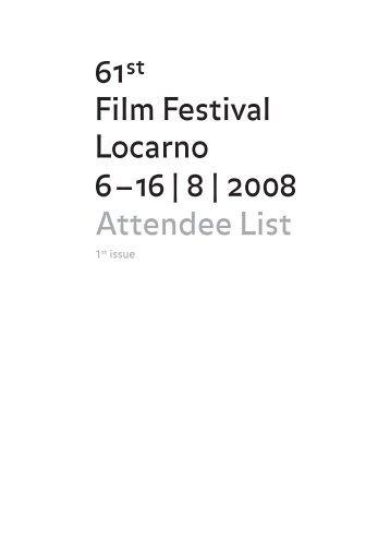 Attendee List - Locarno Film Festival