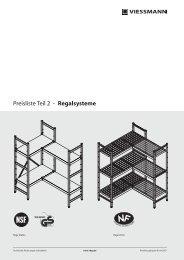 Preisliste Teil 2 - Regalsysteme