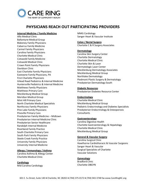 PHYSICIANS REACH OUT PARTICIPATING PROVIDERS - Care Ring
