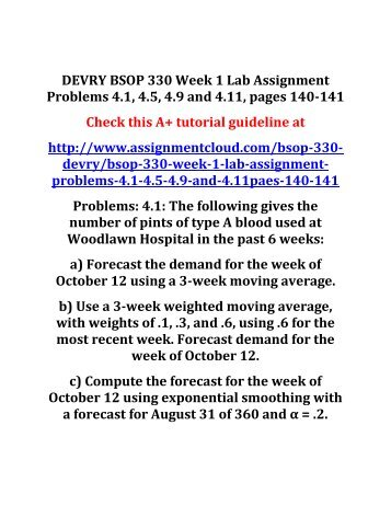 DEVRY BSOP 330 Week 1 Lab Assignment Problems 4